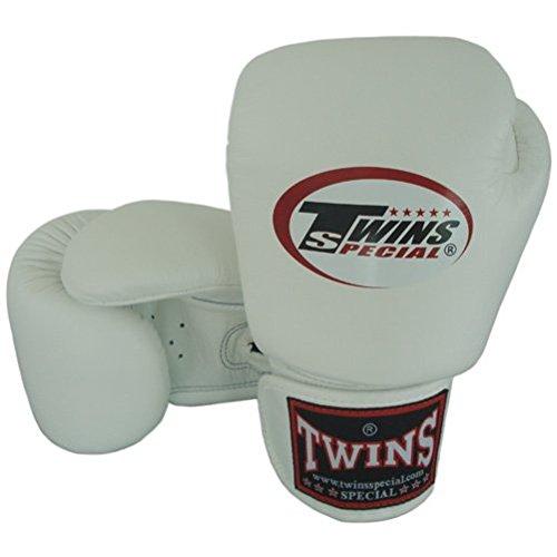 8-10-12-14-16 oz. Weiß White Twins Special Muay Thai Profi Leder Boxhandschuhe (BGVL-3) (1.)  8 Oz.) (Muay Twins Thai Special)