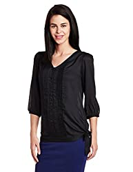 Park Avenue Woman Tie-Waist Top (PWAF00737-K8_Black_86)