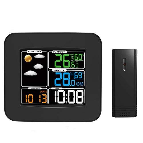 SMX Wecker for Schlafzimmer mit Wetterstation, Wireless Indoor Outdoor Thermometer, Temperatur-Feuchtigkeits-Monitor-Messgerät Hygrometer