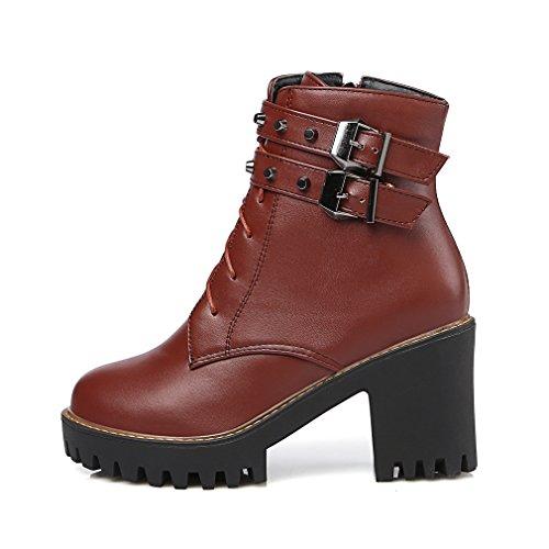 YE Damen Blockabsatz Plateau High Heel Stiefeletten mit Schnürung Schnallen und Nieten 8cm Absatz Elegant Herbst Winter Ankle Boots Braun