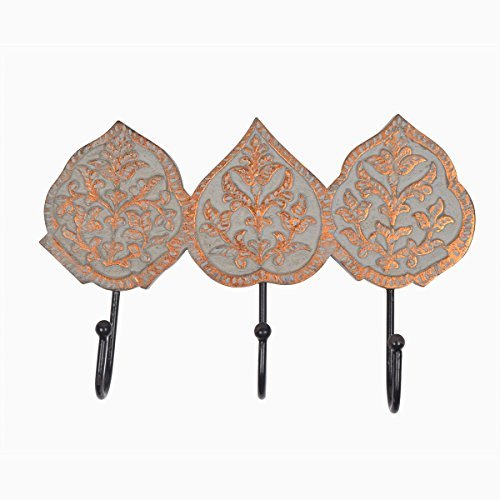 storeindya Wall Hooks Wall Mounted MultiUtility Coat Key Hat Scarf Bags Towel Hanger Rustic Wooden Sturdy 3 Metal Hooks With Hand Carved Leaf Design