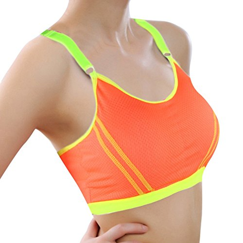 amaz Mall Femme sans Couture sans B ¨ ¹ Gel Bustier Soutien-gorge de sport F ¨ ¹ R Yoga Entrainement de fitness Orange