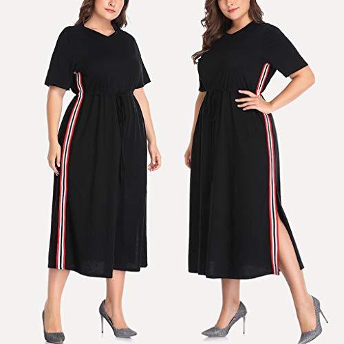 Wawer_Damen Kleid  Fashion Frauen Plus Size Kontrast Verschweißte Seiten Split O-Ansatz Kurzschluss-Hülsen-Lange Kleid,Rock anziehen Party-Kleid Freizeit