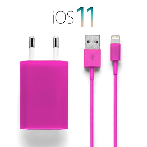iProtect Ladekabel + Netzteil Set für Apple iPhone 5 5s 5c SE, iPhone 6 6 Plus 6s 6s Plus, iPhone 7 7 Plus, iPhone 8 8 Plus, iPhone X, iPad...