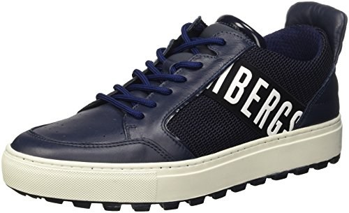 Bikkembergs Track-Er 769 Shoe M Leather/Fabric, Scarpe Low-Top Uomo, Blu (Blue/Grey), 42 EU