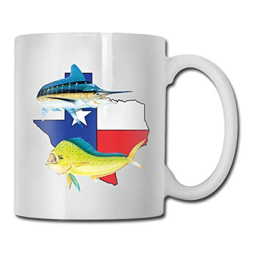 Daawqee Tazze Da Viaggio Coffee Mug 11oz Funny Cup Milk Juice Or Tea Cup Texas Marlin Dolphin Birthday
