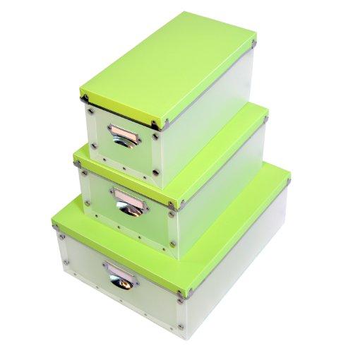 Dynasun ya0725 set scatole plastica porta oggetti, rinforzi metallo, trasparente, verde, 3 pezzi