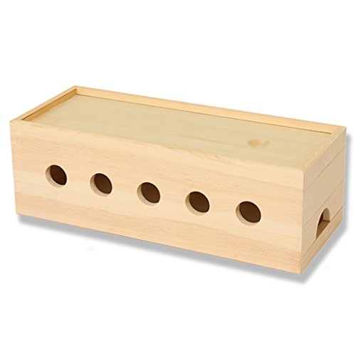 Kabel Aufbewahrungsbox, Massivholz Plug Line Box, USB Hub und Mor, Steckdose Plug Box,B,45CM