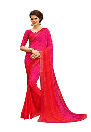 TAGLINE Women's Georgette Saree With Blouse Piece (Peach)18162