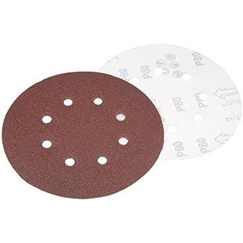 sourcingmap 50Pcs 5 inch 6 Hole Hook and Loop Sanding Disc 600 Grit Flocking Sandpaper for Random Orbit Sander
