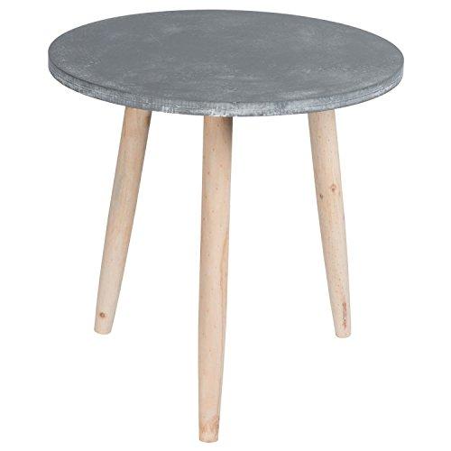 Erle Sofa (Beistelltisch 007 GRAU Betonoptik rund massiv Pinienholz Abstelltisch Nachttisch Couchtisch Tisch)
