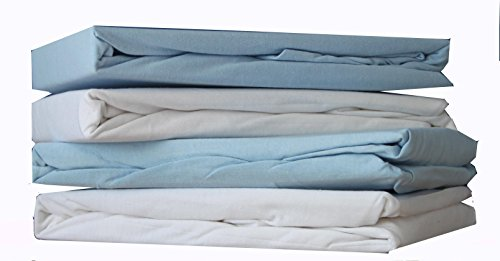 DuDu N Girlie für Kinderbett, Baumwolle Jersey Spannbettlaken Blatt, weiß/blau, 2Stück (Jersey Kinderbett Blau Blatt)