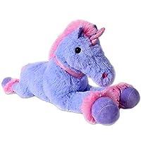 TE-Trend XXL Unicorn Cuddly Toy Plush Animal Horse Stuffed Toy Lying 80cm Purple Pink Horn Collar Tail