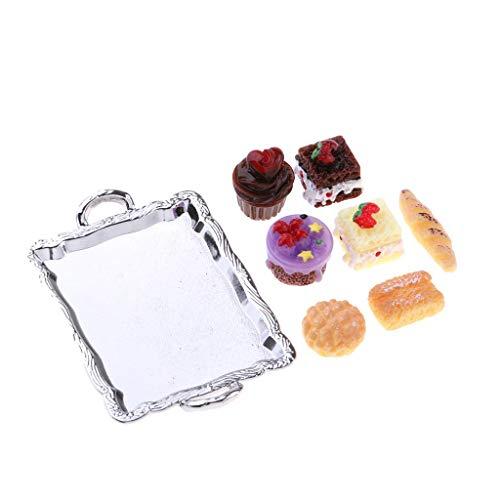 Homyl 1/12 Puppenhaus Küchenzubehör - Miniature Lebensmittel Kuchenplatte und Kuchen Set - 8 Stück - Silber