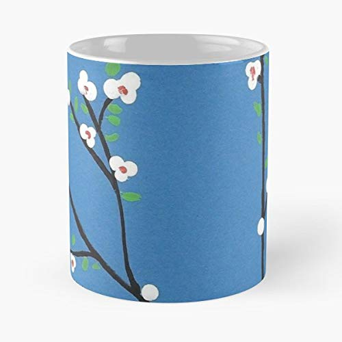 Blossoms Tree Flower Blue White Simple Mug Coffee Mugs For Gifts Cup - Bestes 11 Unze-Keramik-Kaffeetasse Geschenk Blue Tall Cup