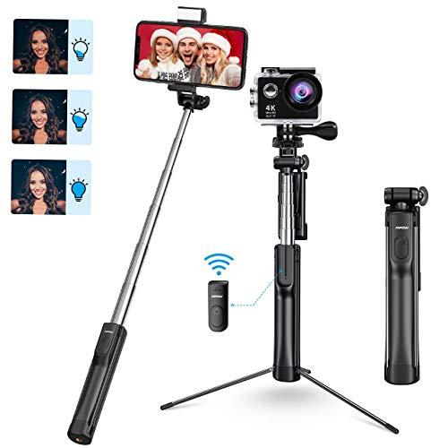 Mpow Bluetooth Selfie Stick Stativ, All in 1 Erweiterbar Selfie Stange Stativ mit LED Fülllicht+Fernbedienung, für iPhone 11/11 PRO MAX/XS max/XR/X/8/7, Galaxy S10/S9/S8/S7, Gopro/Kleine Kamera