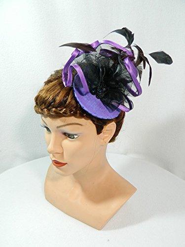(Fascinator lila Minihat Headpiece Anlasshut Damenhut Burlesque Karneval Silvester Partyhut)