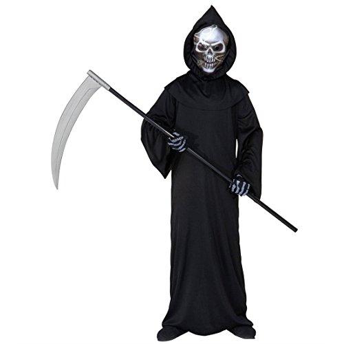 Halloween Kinderkostüm Sensenmann Kinder Kostüm Halloweenkostüm Gevatter Tod Horrorkostüm 140 cm