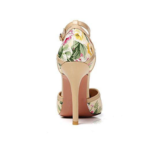 UH Femmes Escarpins Bout Pointu avec Fleurs a Talon Moyen de Aiguille DE 10 cm avec Boucles Abricot