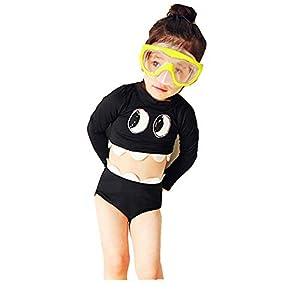 FELZ Bebé Niña Traje de Baño Manga Larga, Anti UV Bañador Estampado Protección Solar Ropa de Natación Piscina Vacaciones Verano Swimsuit Dos Piezas Tops+Pantalones Cortos 2