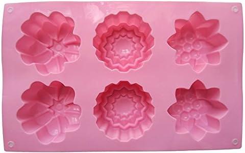 Lebeila 6Cavités Grande Fleur en silicone anti-adhésif Cake Moule à gâteaux Muffins faite à la main Savon Moules Biscuit Chocolat Ice Cube Plateau DIY Moule 0.5 Quart rose