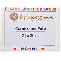 Cornici per foto in legno 21x30cm con scritto Felice Anniversario Nonni, da appoggiare o appendere. Ideale per regalo e ricordo.