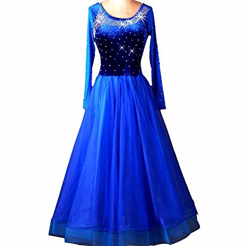 YC gut Frauen Standard Ballroom Dance Wettbewerb Kleider Strass Marine Royal Blau Kostüme für Frauen Blau Tango Walzer Kleider Modern Dance Kleid, A-Linie, (Kostüme Dance Kleid Modern)