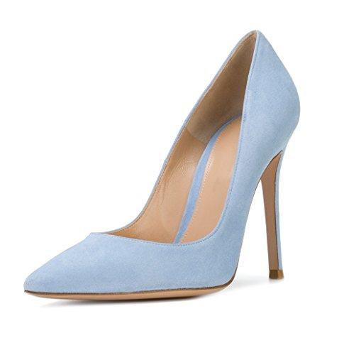 EDEFS Escarpins Fermés Femme - Sexy Talon Aiguille - Chaussures Club Soiree - 10 CM Light Blue