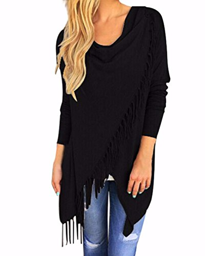 StyleDome Damen Langarm Dünne Quasten Asymmetrisch Jumper Sweatshirt Pullover Strickjacken Schwarz 1 50
