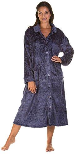 Lady Olga Weiche Haptik geprägt Fleece Nachtwäsche in 3Styles Zip Gewand, Button Bademantel oder Bett Jacke Gr. X-Large, Navy - Button (Bett Jacke)