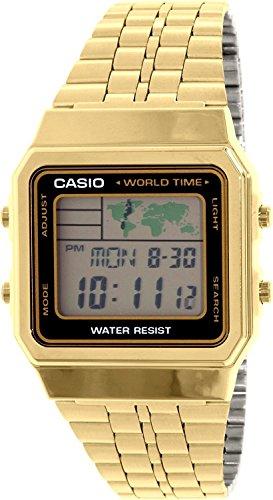 Casio Unisex-Armbanduhr Vintage Digital Quarz Edelstahl beschichtet A500WGA-1D (Casio Uhr Damen Gold Vintage)