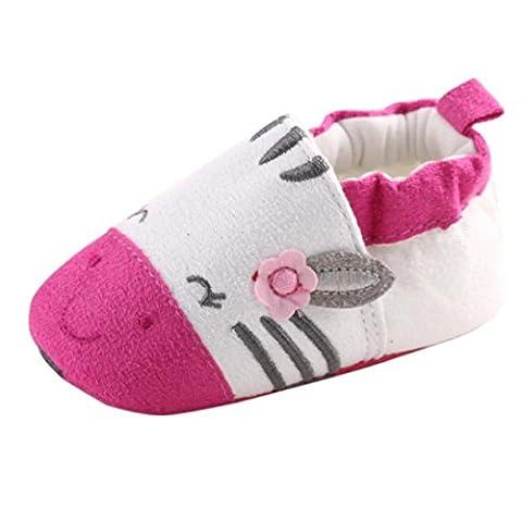 BZLine® LITTLE ORIBBLER Coton Chaussures de premier pas à Semelle souple pour Bébé Fille 0-18Mois (6~12 Mois, Hot Pink)