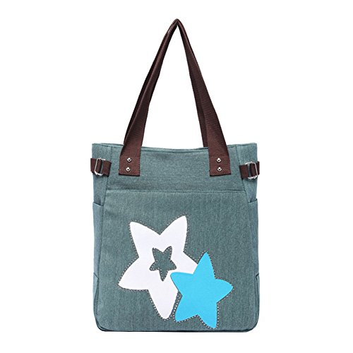 VRIKOO Womens Fashion Casual Canvas Handbag Portable Shopping Tote Shoulder Bags Verde Militare