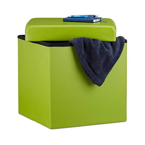 Relaxdays Faltbarer Sitzhocker, Sitzcube mit Stauraum u. Deckel, Fußablage, Sitzwürfel aus Kunstleder, 38x38x38 cm, grün