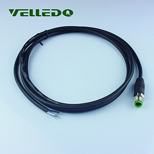 Velledq M12 Sensor connecteur 5 Broches Male Straight Adaptateur avec 2 m/200,7 cm Pur câble Industriel Field-wireable