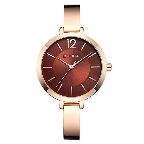 Relojes Curren para Mujer Relojes de Pulsera de Acero con Banda de Acero Completa Relojes de Pulsera para Dama