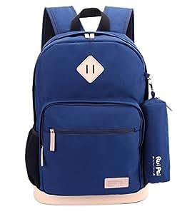 Happy Cherry Schulrucksack Schulranzen Federmappe Schultasche Sports Rucksack Freizeitrucksack Daypacks Backpack für Mädchen Jungen Kinder Damen Herren Jugendliche-Blau