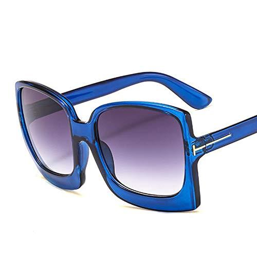 LXXSSRA Sonnenbrille Sommer Stil Damen Markendesigner T-Rahmen Sonnenbrille Frauen Vintage Platz Sonnenbrille Für Weiblich Männlich Big Shades Uv400 E135 Bernstein Grau
