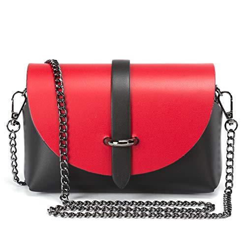 Ira del valle, modello berlin, borsa a tracolla donna ragazza, pochette elegante moda a spalla con catena, piccola borsetta a mano, clutch in vera pelle, made in italy (nero e rosso)