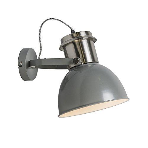 QAZQA Design / Industrie / Modern / Wandleuchte Industrial grau / Innenbeleuchtung / Wohnzimmer / Schlafzimmer Metall Rund LED geeignet E27 Max. 1 x 40 Watt