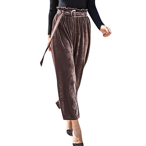 Dorical Damen Hose, Spitze Hohe Taille Lose Passen Solide Knöchellänge Mode Hose für Frauen Große Förderung(EU 36/CN ()