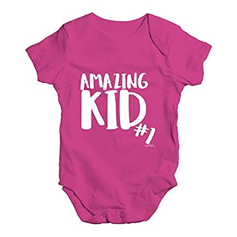 Twisted Envy Baby Unisex Amazing Kid Number 1 Cute Infant Bodysuit Baby Grow Baby Romper 0 - 3 Months Cerise