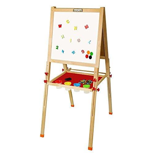 Arkmiido Tableaux de chevalet en bois,Hauteur réglable,Planche à dessin craie double face pour les enfants
