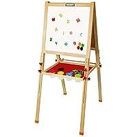 Arkmiido Tableros de caballete de madera,Altura ajustable, Tablero de dibujo de tiza doble cara para niños