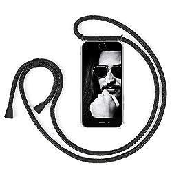 """ZhinkArts Handykette kompatibel mit Apple iPhone 7 / iPhone 8-4,7"""" Display - Smartphone Necklace Hülle mit Band - Schnur mit Case zum umhängen in Schwarz - Schwarz"""