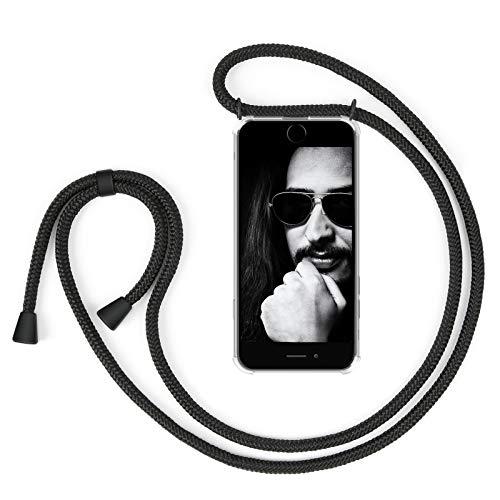 ZhinkArts Handykette kompatibel mit Apple iPhone 6 / 6S - Smartphone Necklace Hülle mit Band - Schnur mit Case zum umhängen in Schwarz - Schwarz