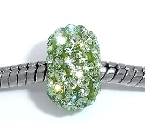 1x vert clair CZ strass Argent 925Core Perle charm pour bracelets à breloques