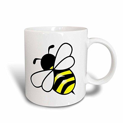 Mensuk mug_43827_2 Large Yellow N Black Bumblebee Ceramic Mug, 15-Ounce, White