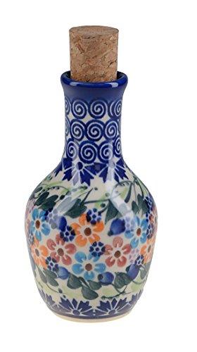 Bcv Classic Boleslawiec, Polish Pottery Hand Painted Ceramic Olive Oil Or Vinegar Bottle 125ml 513-u-008