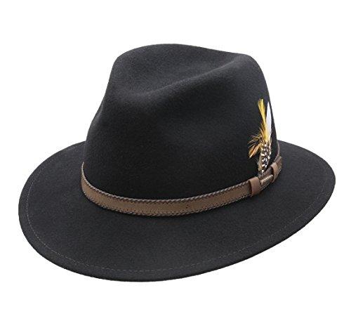 Stetson - Chapeau Fedora Pliable imperméable Feutre Homme ou Femme Rocklin
